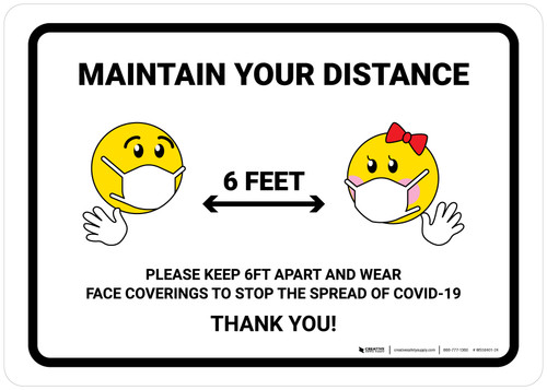Maintain Your Distance with Emojis Landscape - Wall Sign