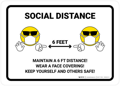 Social Distance 6 Feet with Emojis Landscape - Wall Sign