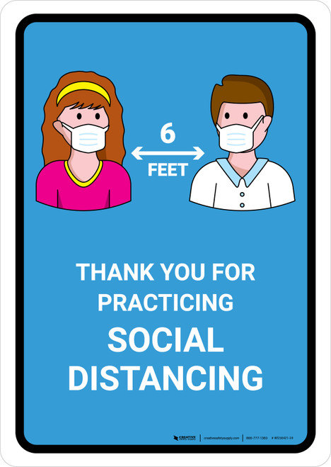 Thank You For Practicing Social Distancing with Icons Blue Portrait - Wall Sign