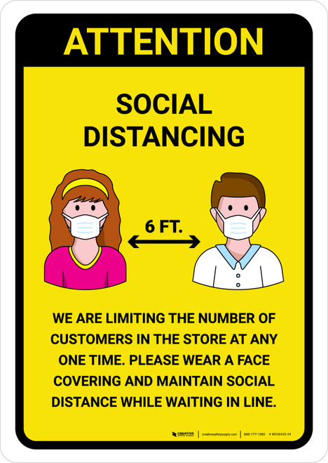 Attention We Are Limiting Number Of Customers with Icons Yellow Portrait - Wall Sign