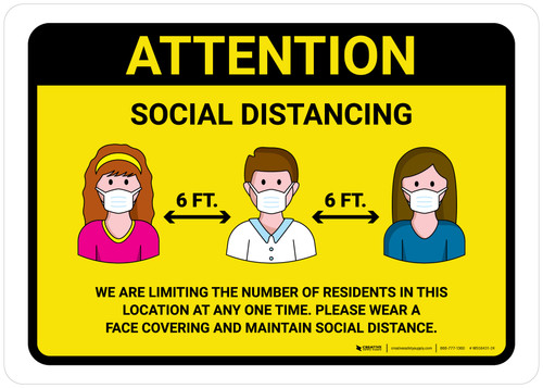 Attention We Are Limiting Number Of Residents with Icons Yellow Landscape - Wall Sign