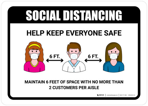 Social Distancing Help Keep Everyone Safe with Icons Landscape - Wall Sign