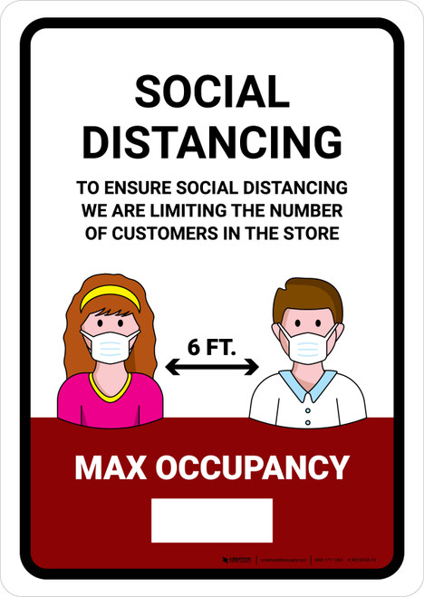 Social Distancing Max Occupancy with Icons Red Portrait - Wall Sign