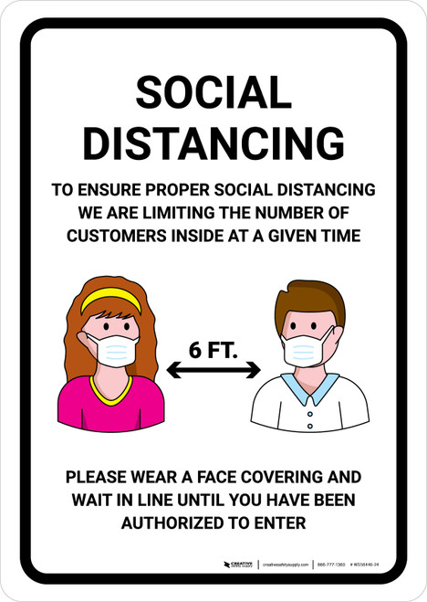 Social Distancing To Ensure Health And Safety Of Customers with Icons Portrait - Wall Sign