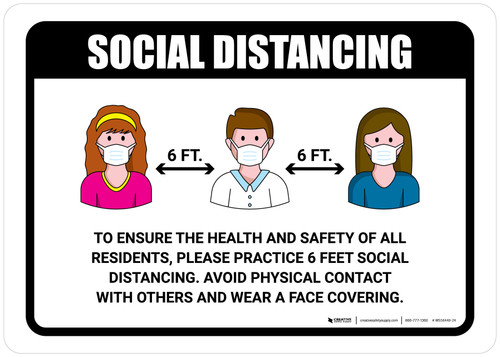 Social Distancing To Ensure Health And Safety Of Residents with Icons Yellow Portrait - Wall Sign