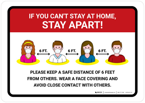 If You Can't Stay At Home Stay Apart with Icons Landscape - Wall Sign