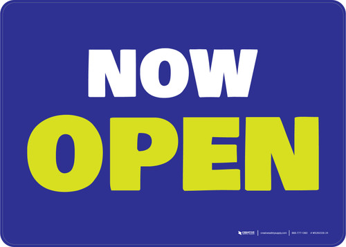 Now Open Blue/Green Landscape - Wall Sign