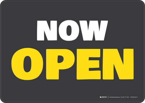 Now Open Gray/Yellow Landscape - Wall Sign
