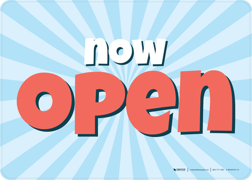 Now Open Retro Blue/Red Landscape - Wall Sign