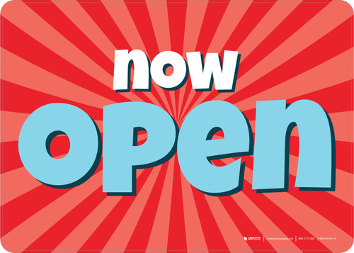 Now Open Retro Red/Blue Landscape - Wall Sign