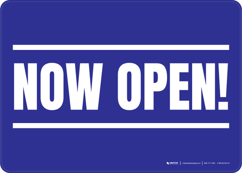 Now Open! Blue/White Landscape - Wall Sign