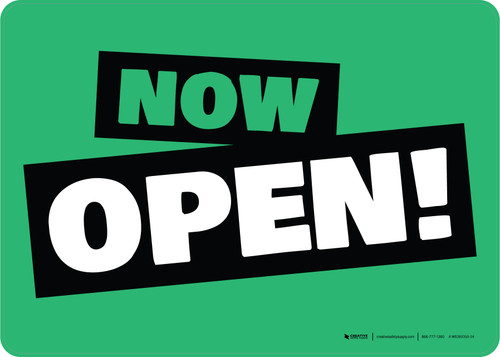 Now Open! Green/Black/White Landscape - Wall Sign