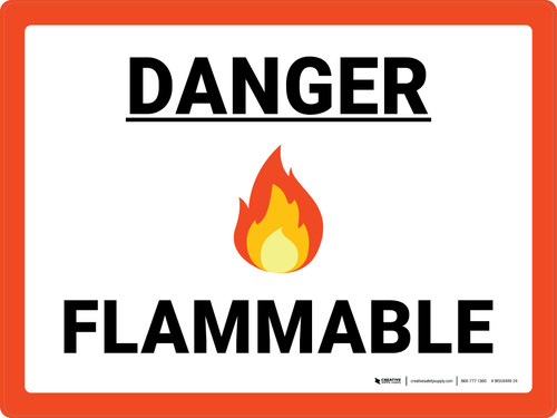 Danger Flammable with Emoji Red Landscape - Wall Sign