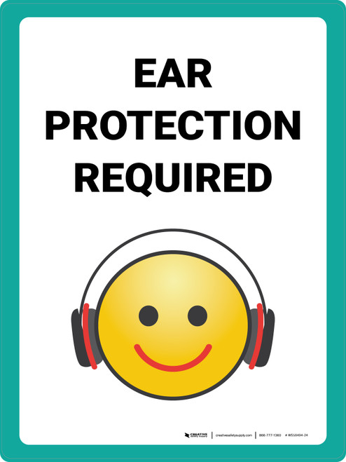 Ear Protection Required with Emoji Portrait - Wall Sign