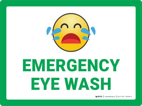 Emergency Eye Wash with Emoji Green Landscape - Wall Sign