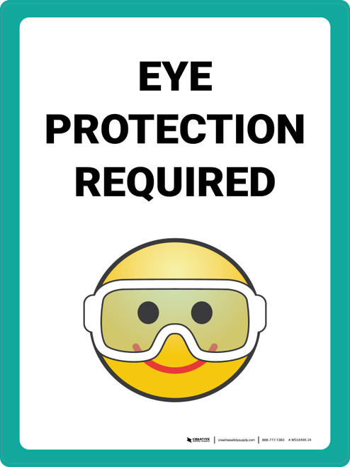 Eye Protection Required with Emoji Portrait - Wall Sign