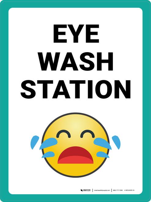 Eye Wash Station with Emoji Portrait - Wall Sign