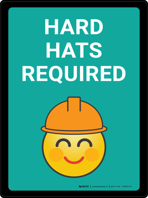 Hard Hats Required with Emoji Blue Portrait - Wall Sign