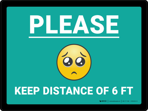 Please Keep Distance of 6 ft with Emoji Blue Landscape - Wall Sign