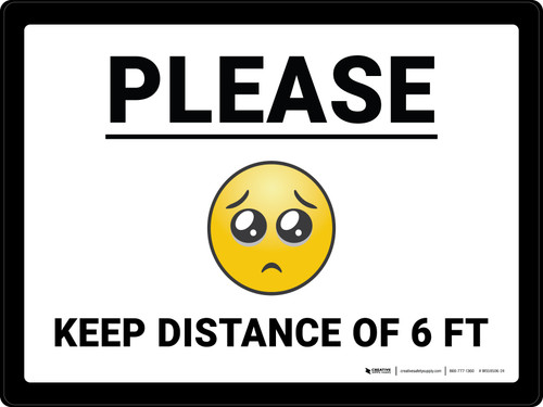 Please Keep Distance of 6 ft with Emoji Landscape - Wall Sign
