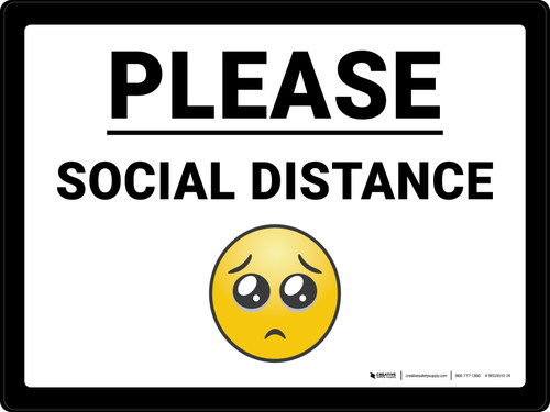 Please Social Distance with Emoji Landscape - Wall Sign