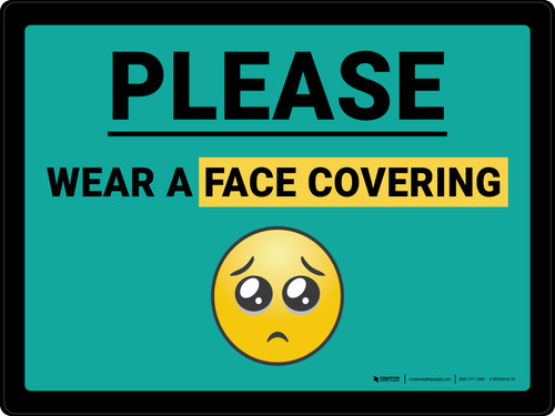 Please Wear A Face Covering with Emoji Blue Landscape - Wall Sign
