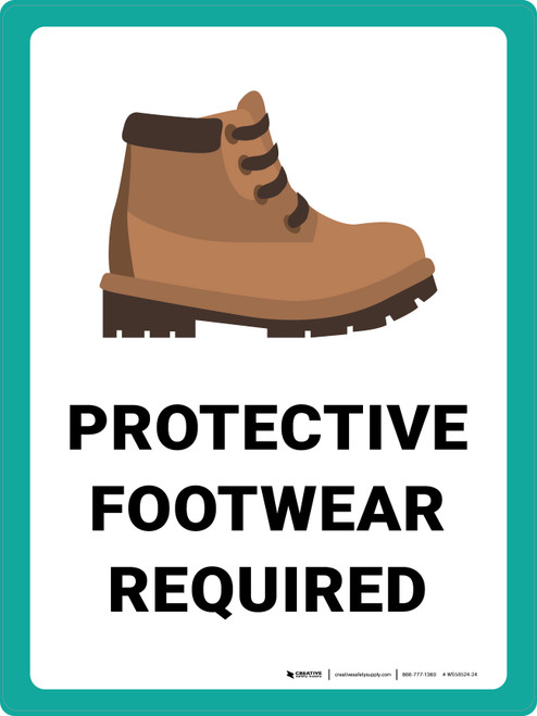 Protective Footwear Required with Emoji Portrait - Wall Sign