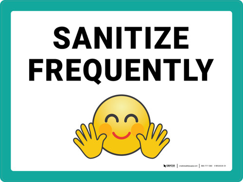 Sanitize Frequently with Emoji Landscape - Wall Sign