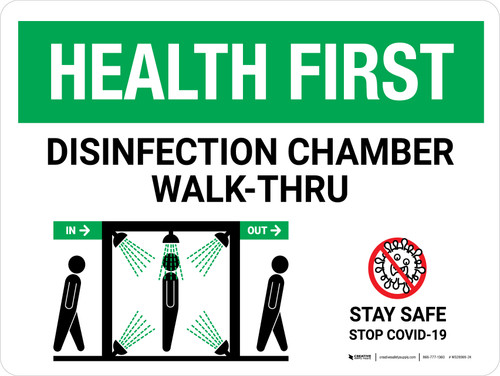 Health First Disinfection Chamber Walk-Thru with Icon Landscape - Wall Sign