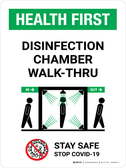 Health First Disinfection Chamber Walk-Thru with Icon Portrait - Wall Sign