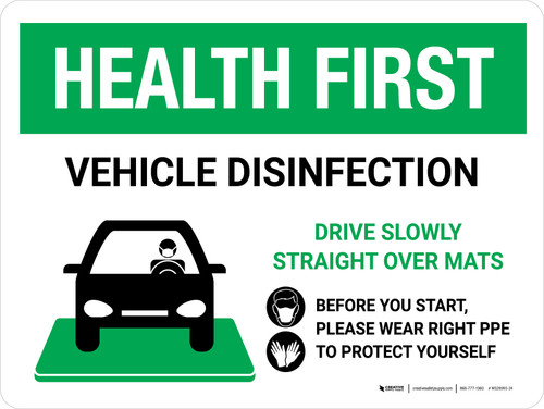 Health First Vehicle Disinfection Wear PPE with Icon Landscape - Wall Sign