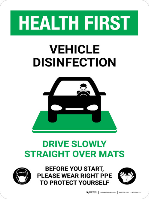 Health First Vehicle Disinfection Wear PPE with Icon Portrait - Wall Sign