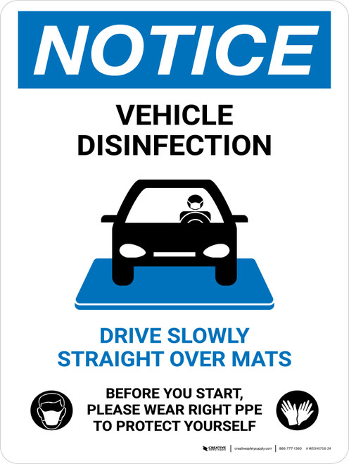 Notice Vehicle Disinfection Wear PPE with Icon Portrait - Wall Sign