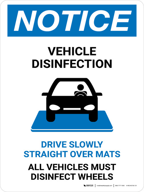 Notice Vehicle Disinfection with Icon Portrait - Wall Sign