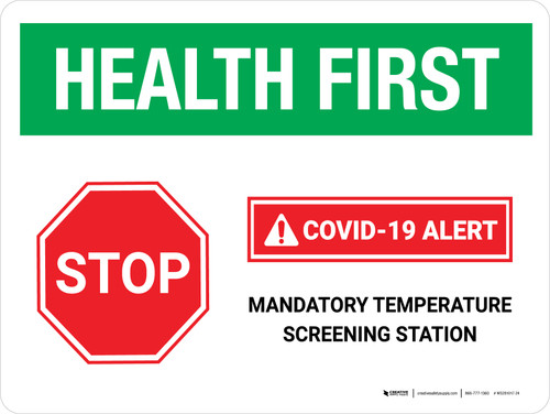 Health First: Stop COVID-19 Mandatory Temperature Screening with Icon Landscape - Wall Sign