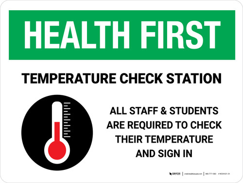 Health First: Temperature Check Station Students with Icon Landscape - Wall Sign