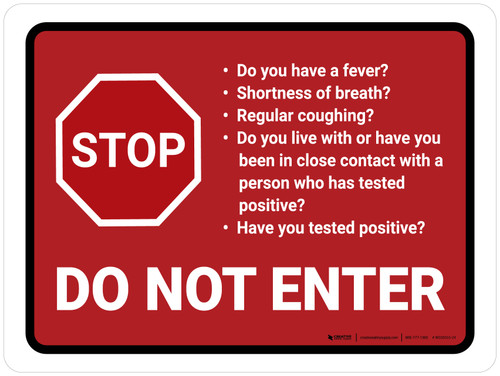 Stop Do Not Enter COVID-19 Screening Questions With Icon Red Landscape - Wall Sign