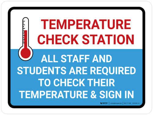 Temperature Check Station Students with Icon Landscape - Wall Sign