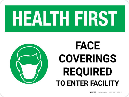Health First: Face Coverings Required with Icon Landscape - Wall Sign