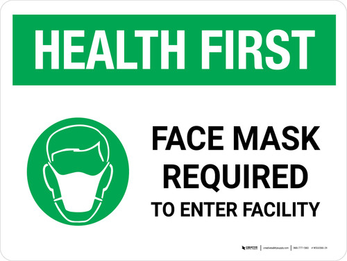 Health First: Face Mask Required with Icon Landscape - Wall Sign