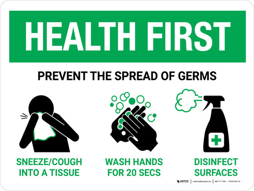 Health First: Prevent the Spread of Germs with Icons Landscape - Wall Sign
