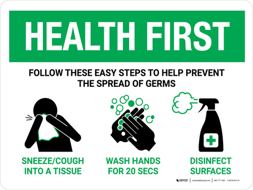 Health First: Steps To Prevent Spread Of Germs with Icons Landscape - Wall Sign