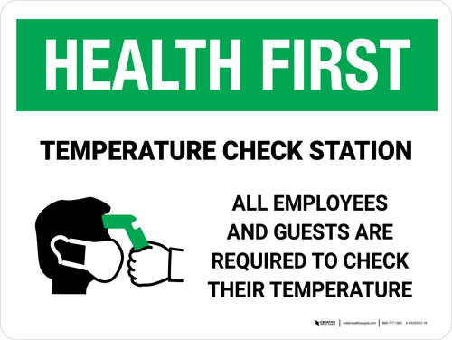 Health First: Temperature Check Station with Icon Landscape - Wall Sign
