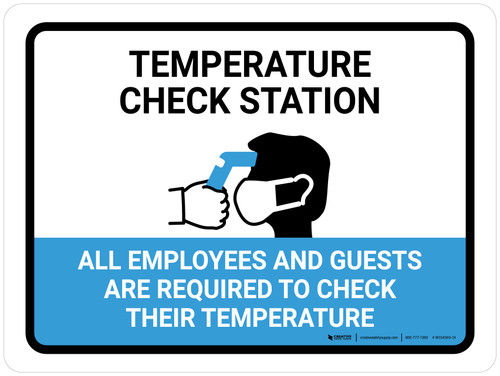 Temperature Check Station Employees And Guests with Icon Landscape - Wall Sign