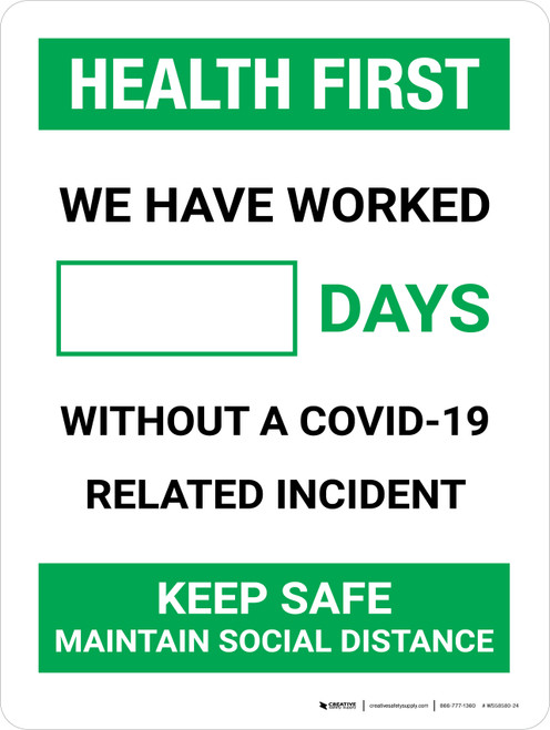 Health First: Days Without A COVID-19 Incident Portrait - Wall Sign
