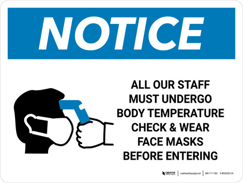 Notice: All Staff Must Undergo Temperature Check with Icon Landcape - Wall Sign