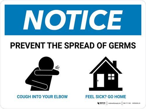 Notice: Prevent the Spread of Germs with Icons Landscape - Wall Sign