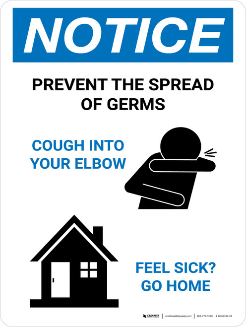 Notice: Prevent the Spread of Germs with Icons Portrait - Wall Sign