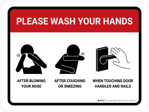 Please Wash Your Hands with Icons Landscape - Wall Sign