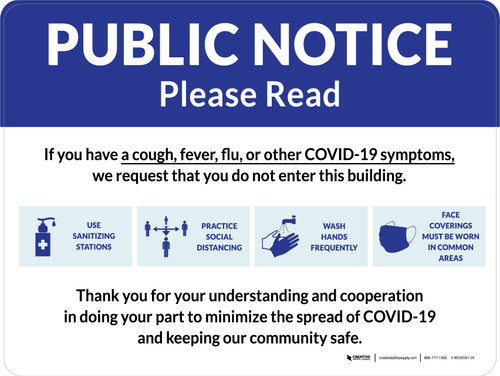 Public Notice: COVID-19 with Icons Blue Landscape - Wall Sign